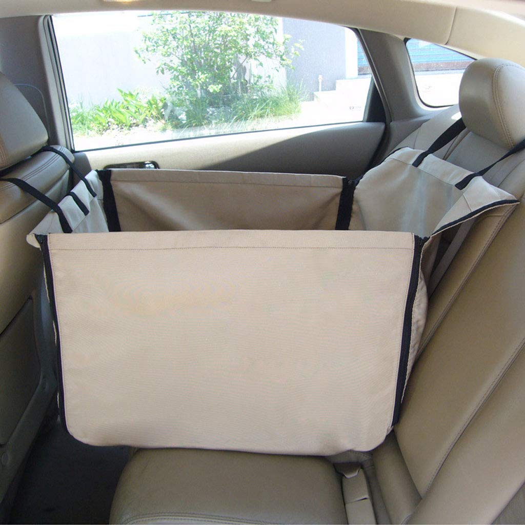 Beige GCHOME Dog car seat cover Pet Car Mat Waterproof Folding Oxford Fabric Car Dog Pad Easy To Clean (color   Beige)