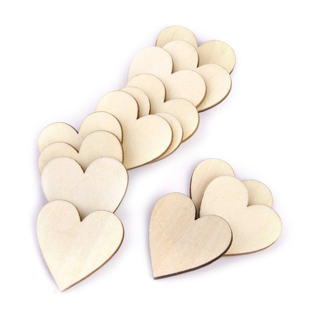 Tinksky Wooden Hearts, 40mm Blank Heart Wood Slices Discs - 50pcs (Wood Color)