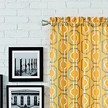 PAIRS TO GO Curtains for Bedroom – Arlene 56 x 84 Decorative Double Panel Rod Pocket Window Treatment Privacy Curtain Pair for Living Room, Yellow