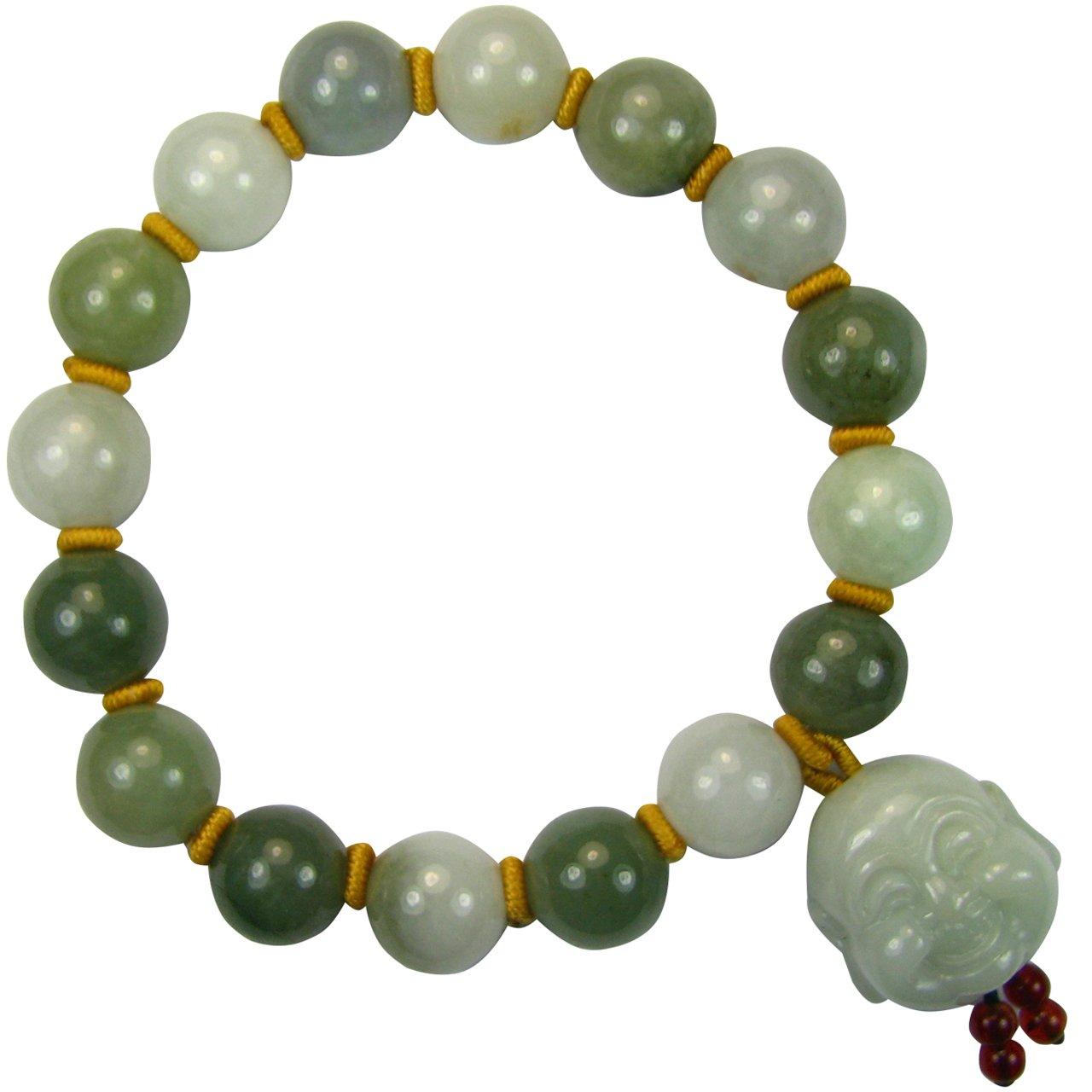 Dahlia Laughing Buddha Jade 12mm Bead Bracelet Genuine Certified Grade A Jadeite, 8''