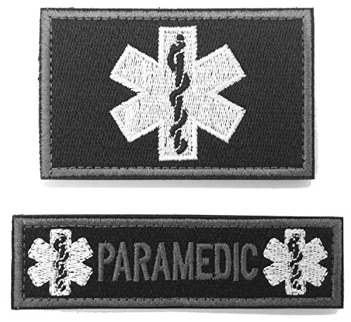 WZT 2 pieces paramedic Tactical Morale Patch with backing Decorative Embroidered Badge appliques (Baby Paramedic Costume)