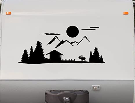 Mountains motorhome stripe kit moose rv stickers trailer stickers camper vinyl decal