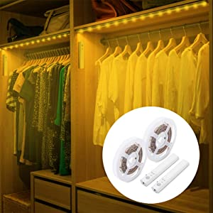 Amagle LED Dual Mode Motion Night Light, Flexible LED Strip with Motion Sensor Closet Light for Bedroom Cabinet 3000K (Warm White,2 Pack)