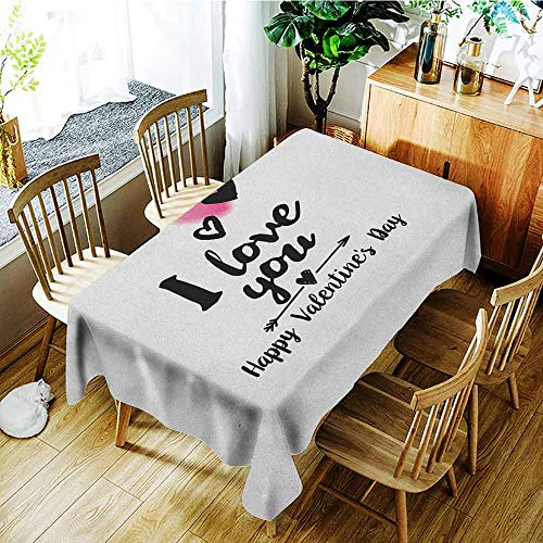 XXANS Spill-Proof Table Cover,Romantic,Happy Valentine`s Day Themed Composition with Love Phrase Arrow and Heart,Table Cover for Dining,W52x70L Pink Black White]()