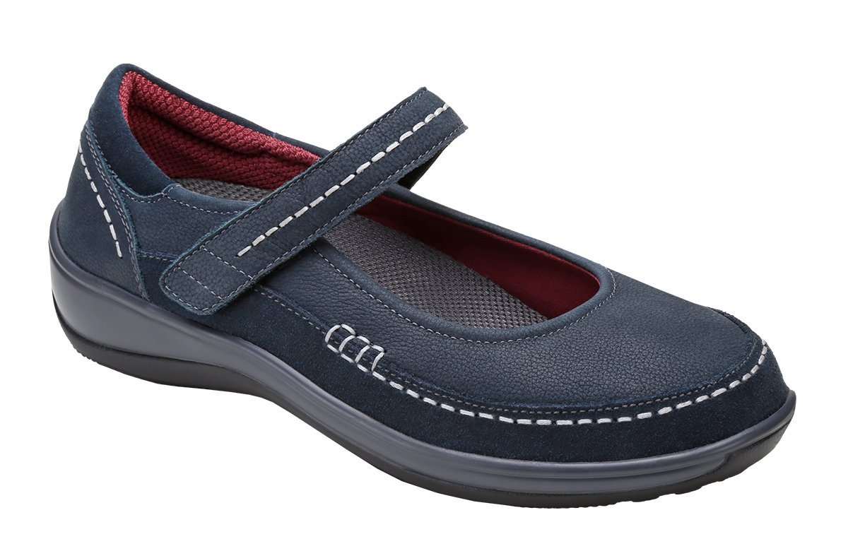 Orthofeet Athens Womens Comfort Orthotic Orthopedic Diabetic Mary Jane Shoes Beige Fabric and Leather 9 XW US