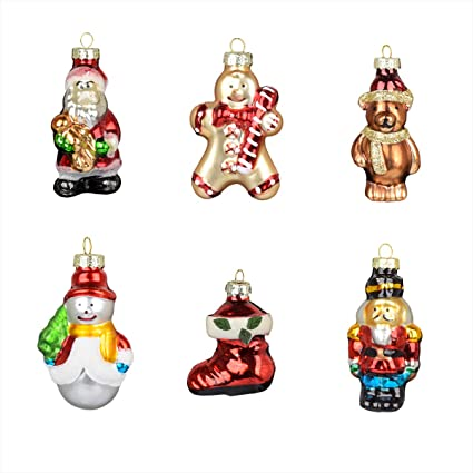 Ecosides Set Of 6 Christmas Ornaments Gifts Glass Painted Baubles Bling Bling Small Santa Claus Snowman Angel Bear Hanging Figurines Xmas Party Decor For Merry Christmas Tree Amazon Co Uk Kitchen Home