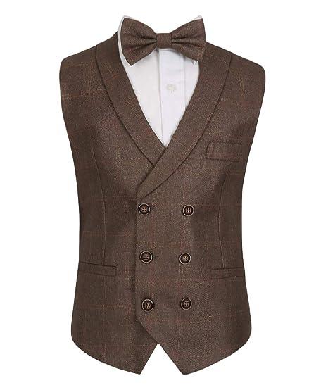 7d46c3d37 SIRRI Flamingo Men's Boys Tweed Check Double Breasted Marrone Brown Bowtie  Waistcoats Age 03-04