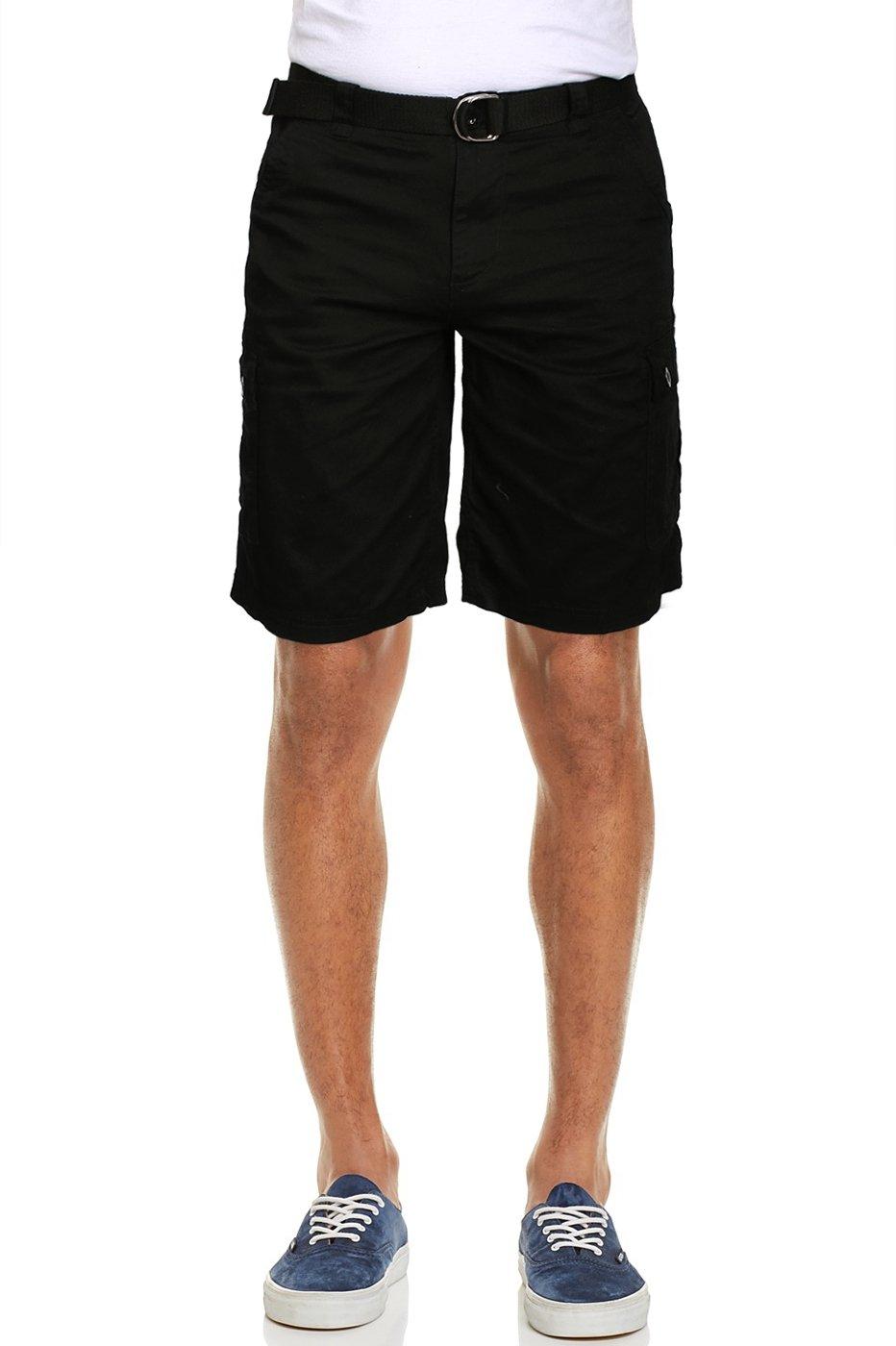 Zeta Wear Men's Solid Multi-Pocket Cotton Twill Pants Belted Cargo Shorts Black 32
