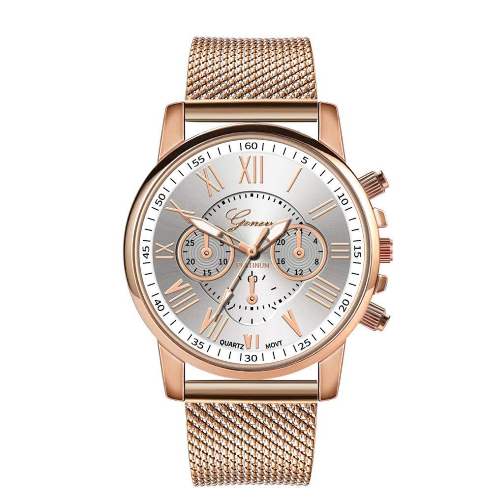 Pocciol Fashion Military Stainless Steel Quartz Watch Womens Casual Watch Luxury Analog Wristwatch (White)