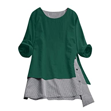 98738a0ea3d Funic Plus Size Womens Casual Peasant Style Blouse Button Splice Cotton Tops  Tee Lattice Loose Shirt