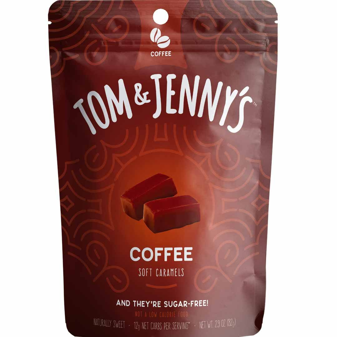 Tom & Jenny's Sugar Free Classic Soft Caramels - Sweetened with Xylitol and Maltitol (Coffee Caramel, 1-pack)