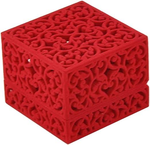 VORCOOL Anillo Caja Joyero Terciopelo Cueva para Boda Anillo San Valentín Regalo Compromisos (Rojo): Amazon.es: Juguetes y juegos