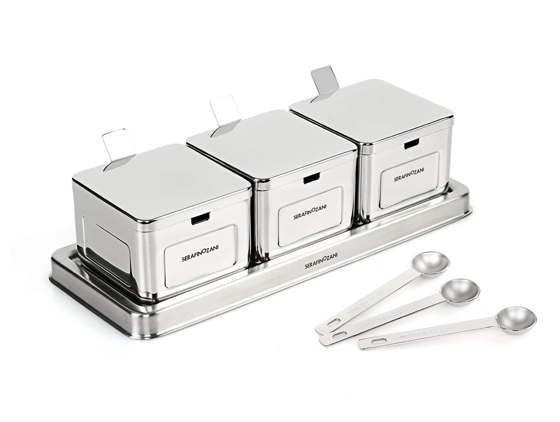 SERAFINO ZANI Rhine Series 18/10 Stainless Steel 3-pcs Seasoning Box, Storage Container Condiment Jars,Sessoning Rack Spice Pots with Serving Spoons