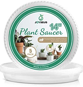 JOYSEUS 5 Pack of 14 inch Plant Saucers - Durable Plastic Plant Tray for Flower Pots, Clear Plant Saucer for Indoor Plants Pots & Outdoor Plants