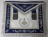 Masonic Apron--Master Mason Apron Navy Blue with Fringe Embroidered Silver G