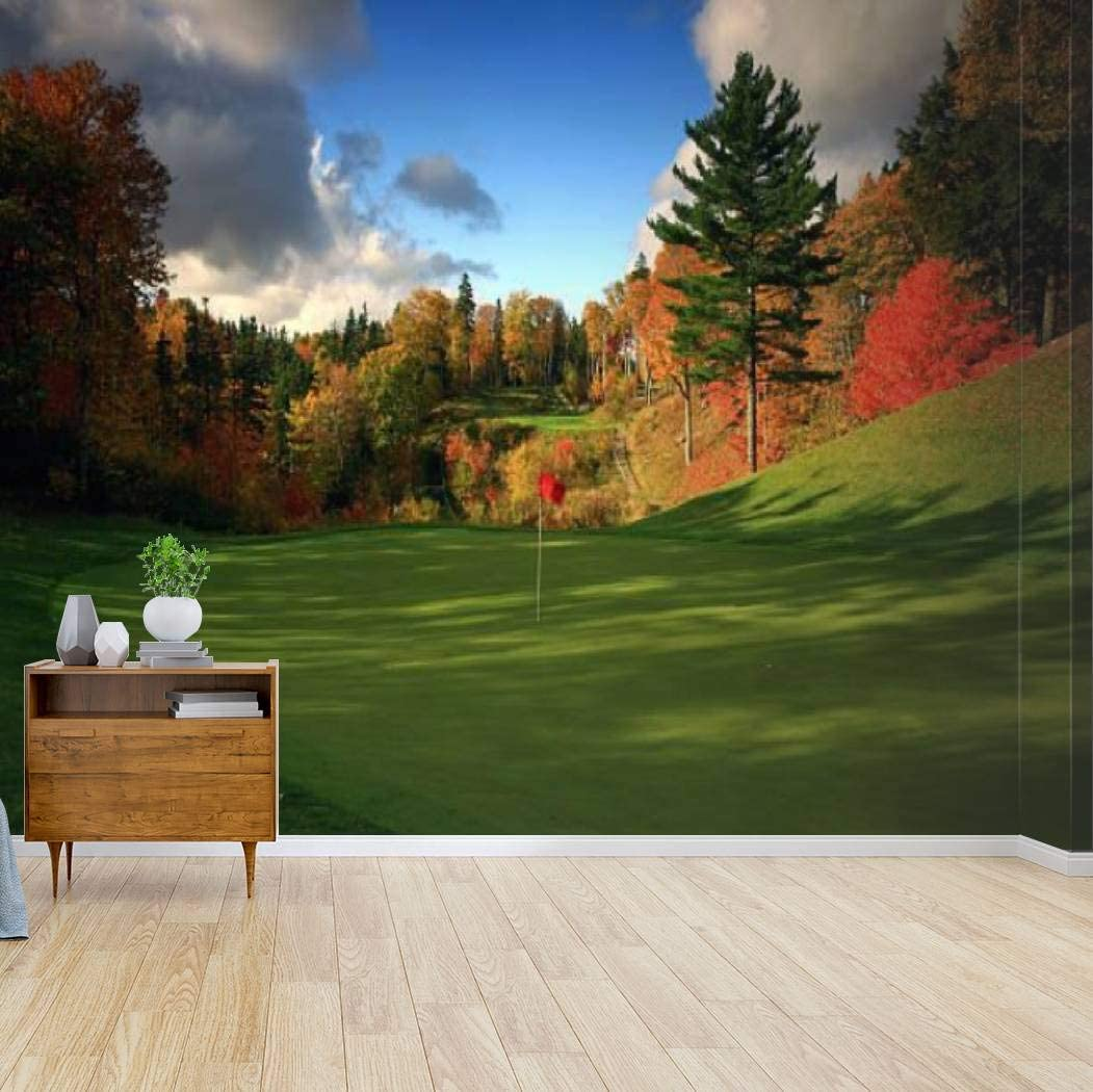 Amazon Com Wall Mural Stunning Golf Course In Canada In The Fall Red Fall Trees And Peel And Stick Wallpaper Self Adhesive Wallpaper Large Wall Sticker Removable Vinyl Film Roll Shelf Paper Home