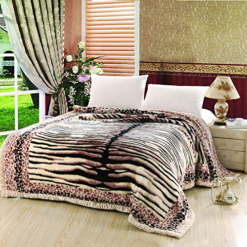 - Love of Life Thick Blanket Double Layer Floral Printed Laschel Soft Warm Mink Luxury Throw Bed Super Soft,6,3.5KG/200230Cm