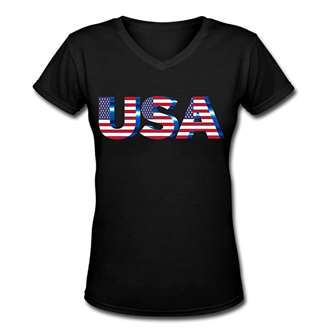65ac859403c USA Flag Cotton Adult Amusingshort Sleeve Summer Women s Shirts Faddish  V-neck S-xxl