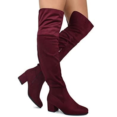 f64c2080938 Premier Standard - Women s Over The Knee Stretch Boot - Trendy Low Block  Heel Shoe -