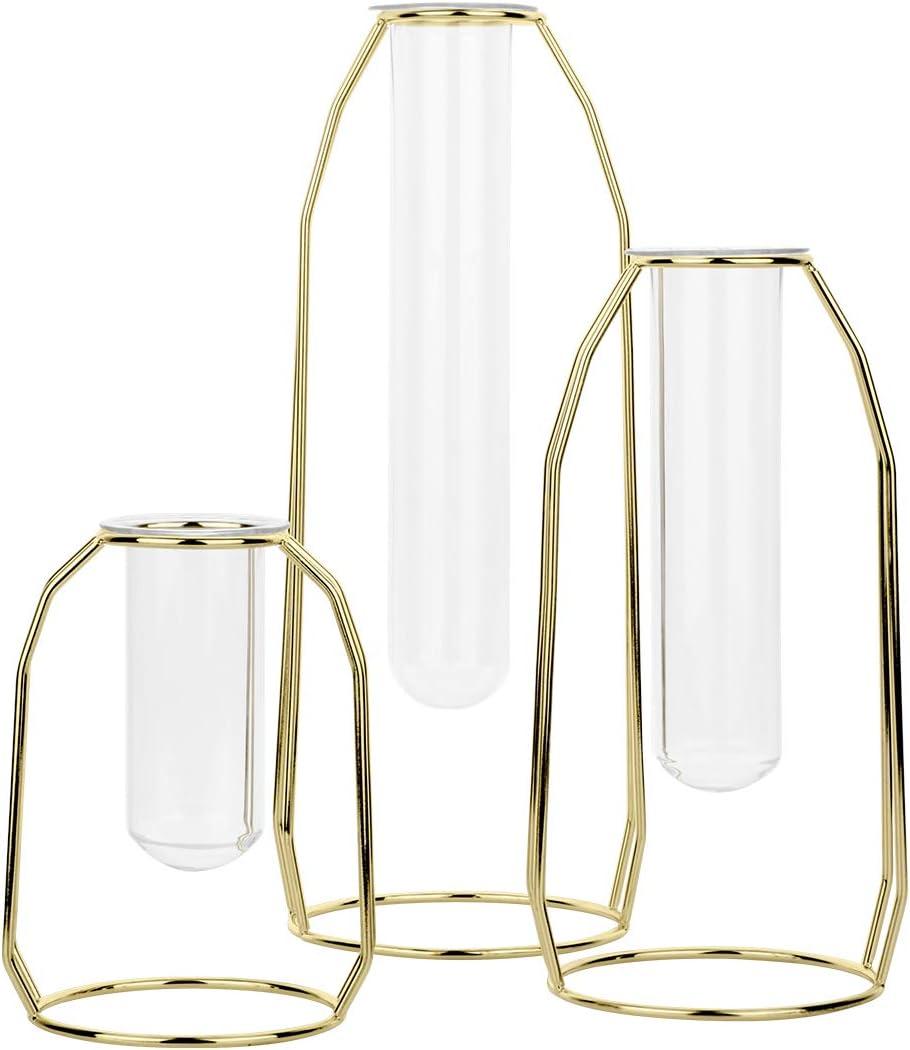 Koyal Wholesale 3 Piece Gold Metal Clear Glass Test Tube Bud Vase, Hydroponic Plant Vase Holders, Single Flower Wedding Centerpieces Arrangement, Home Decor, Office Decor, Restaurant Table Decorations
