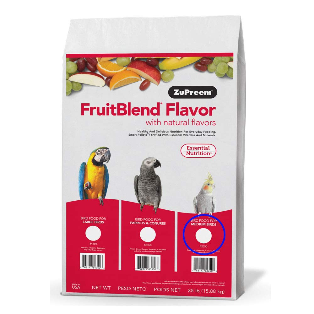 Zupreem 230340 Fruitblend With Natural Fruit Flavors For Medium Birds 35 Lbs by ZuPreem