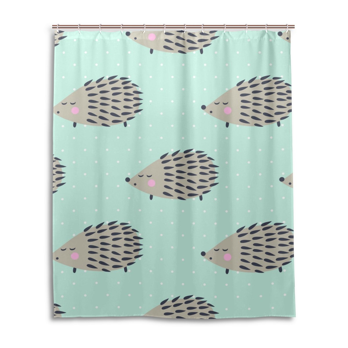 Amazon ALAZA My Daily Cute Hedgehog Shower Curtain 60 X 72 Inch Mildew Resistant Waterproof Polyester Decoration Bathroom Home Kitchen