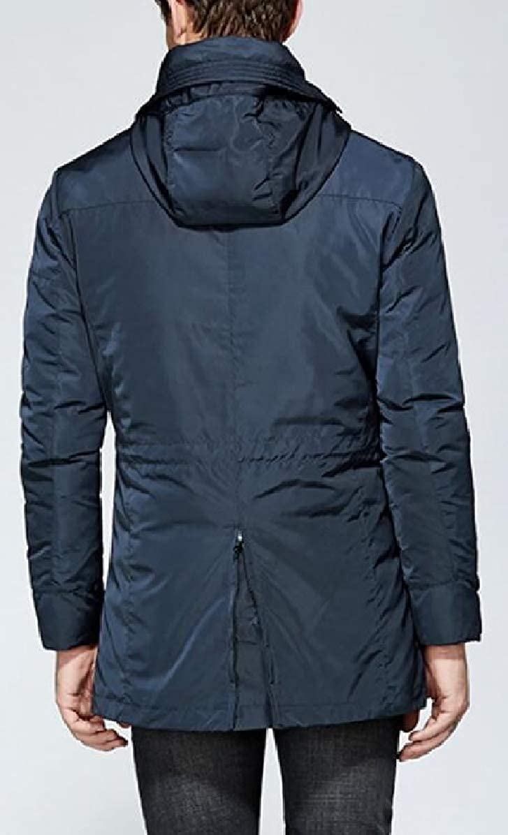 ONTBYB Mens Quilted Lined Removable Linen Cotton Padded Winter Anorak Parka