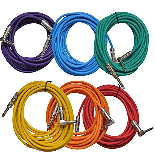 Seismic Audio - SAGC20R-BRPGYO - 6 Pack of Colored 20 Foot Right Angle to Straight Guitar Cables - 20' Multi-Color Guitar or Instrument ()