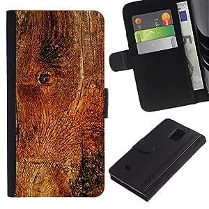 Paccase / Billetera de Cuero Caso del tirón Titular de la tarjeta Carcasa Funda para - Wood Texture Material Structure Brown Nature - Samsung Galaxy Note 4 SM-N910