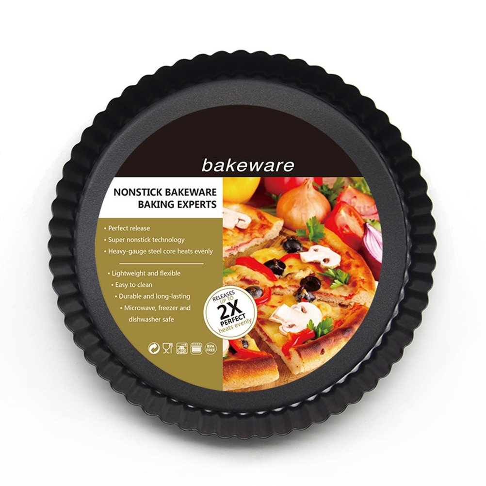 OUNONA 9 inch Non-stick Pizza Pan Quiche Pan With Removable Bottom Removable Loose Bottom Quiche Pan Tart Pie Pan