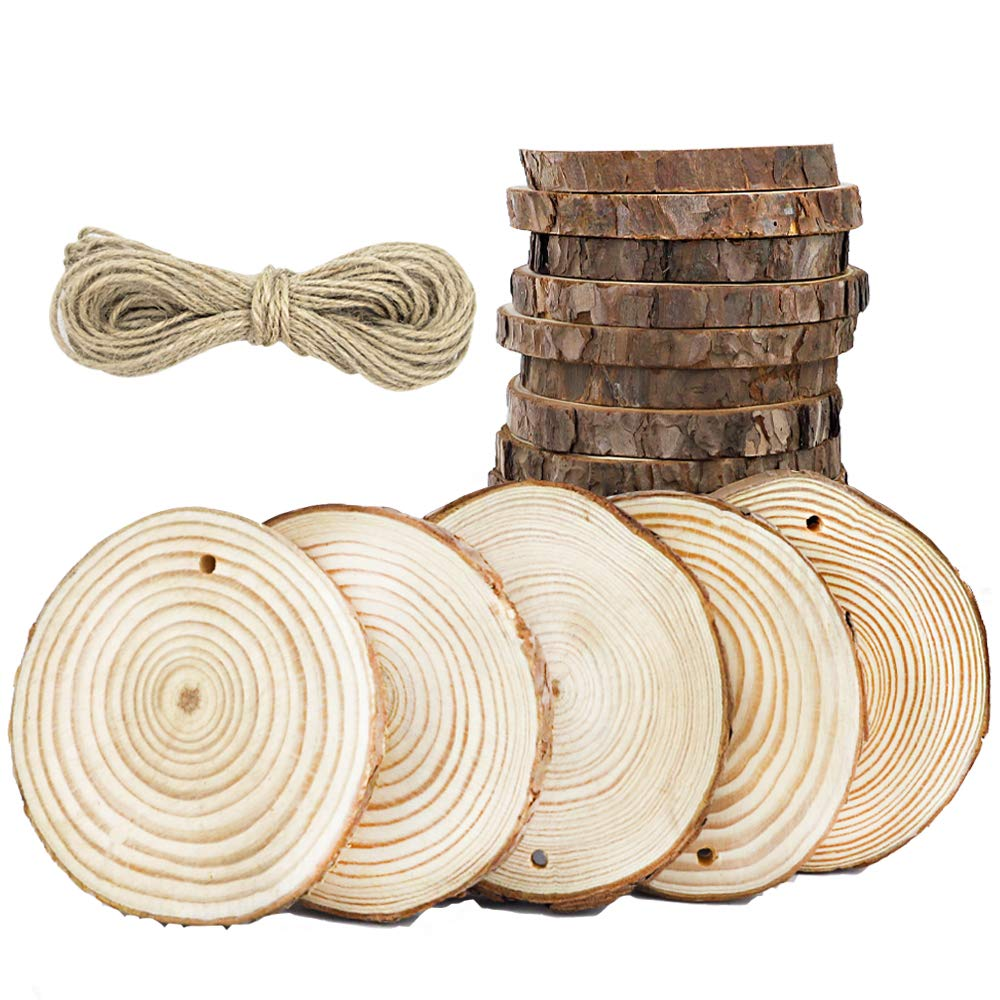CEWOR 24pcs 3.1-3.5 Natural Wood Slices with Holes Craft Wood and 33Ft Jute Twine (24pcs) (24pcs)