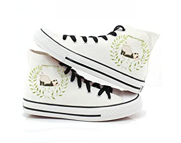 Watercolour Painting Women girls Animal Penguin Panda Shoes Canvas Sneakers