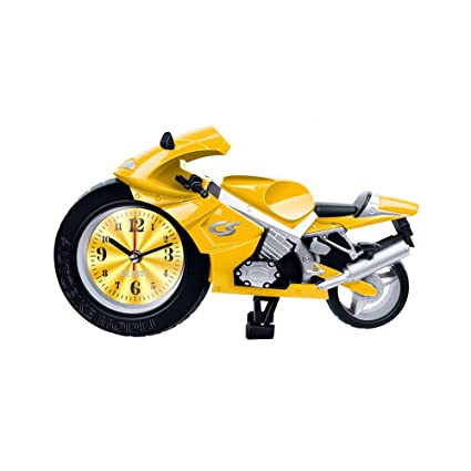 ROOVON Motorcycle Alarm Clock Retro Electronic Watch Desk&Shelf Decoration Clock for Kids Gift, Yellow