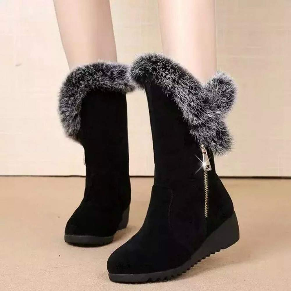 Lurryly❤Womens Fashion Winter Warm Snow Boots Zipper Ankle Boot Classic Bootie Shoes
