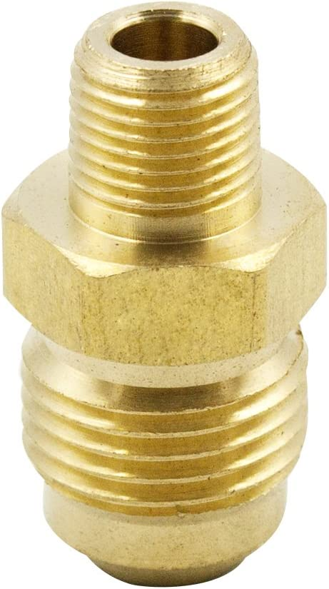 """Legines Brass Tube Fitting, SAE 45 Degree Flare Adapter Union, 5/16"""" Flare Male to 1/4"""" NPT Male (Pack of 2)"""