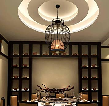 Amazon.com: khskx chinese-style Birdcage Lámpara de araña de ...