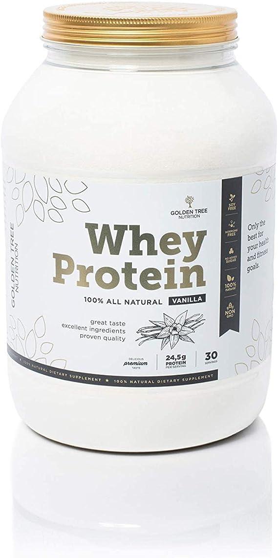 Whey Protein | Polvo de proteína de suero 1kg | 100% Ingredientes Todo-Naturales | Delicioso sabor a vainilla natural | Sin azúcar añadido | Sin ...