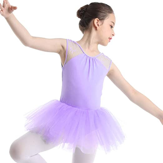 Girls Floral Lace Skating Dress Ballet Tutu Leotard Dancewear Gymnastics Costume