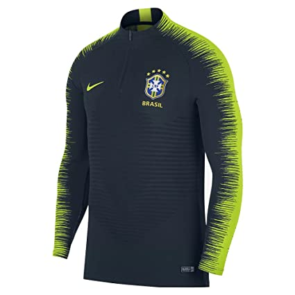 3b88c088e6e Amazon.com   Nike 2018-2019 Brazil Strike Vapor Knit Drill Top (Navy ...
