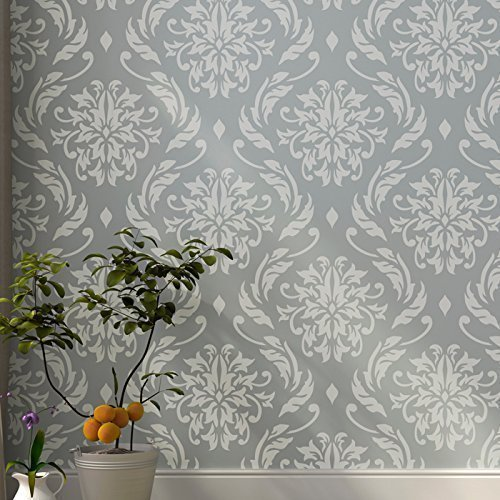 Art Deco Stenciling - Lily Blooms Wall Stencil for Painting - Expedited 3 days Delivery - Damask Wall Accent - Reusable Template - Large Mylar Washable Plastic - Repeatable Pattern for Wall Décor