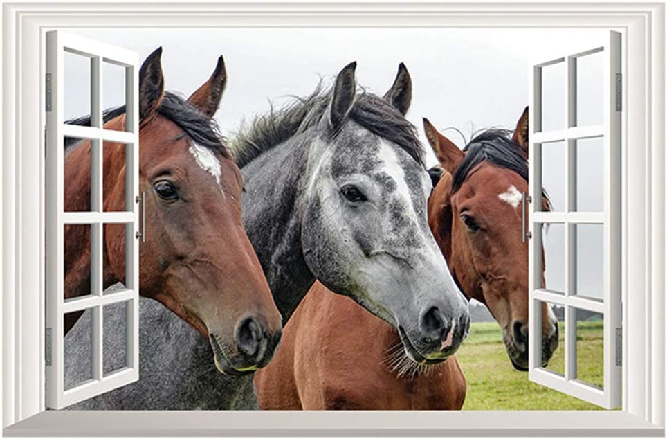 Home Find Horse Wall Decals 3D Faux Window View Decals Removable Fake Window Scene Wall Stickers Home Decor Art Mural Animals for Living Room Kids Room Nursery 23 inches x 15 inches