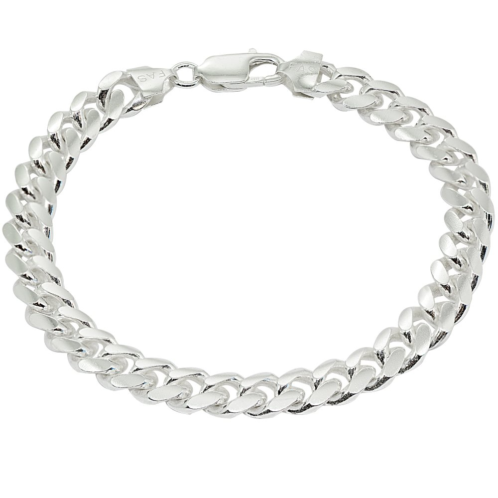 Sterling Silver 8mm Miami Cuban Curb Link Chain Mens Bracelet, 9 Inches