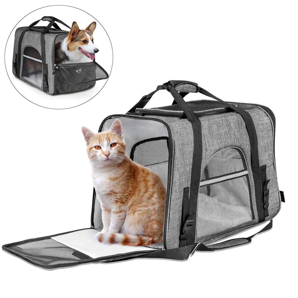 CLEEBOURG Pet Carrier for Large Cat Dog Bags Travel Carrier Lightweight Collapsible Animal Carrier Bag Mesh Soft Side Dog Kennel Crate for Adult/Baby Cats- Gray