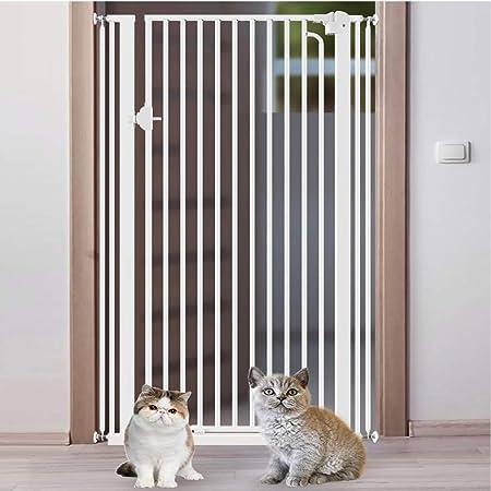 Barrera seguridad Puerta de mascotas extra alta for perros, gatos, barrera de bebé con encriptación ancha for puertas Pasillos de escaleras, puertas de seguridad for interiores de metal blanco 61-168: Amazon.es: Hogar