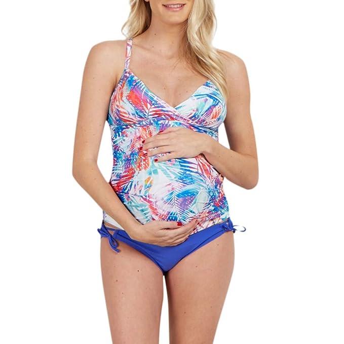 c82c868ee PAOLIAN Traje de baño para Embarazadas Trajes de Dos Pieza para Maternidad  Tankinis Bikini Mujer Ropa Premamá Bragas Playa Moderna Monokini Tallas  Grandes  ...