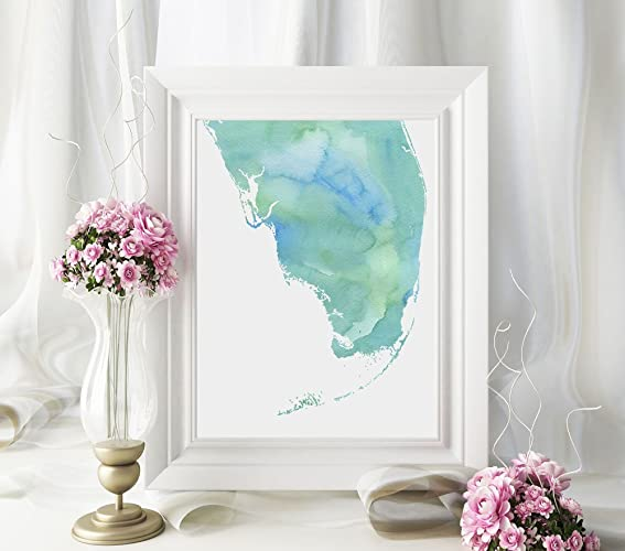 Watercolor Florida Map.Amazon Com South Florida Or Any State Map Art Print Watercolor