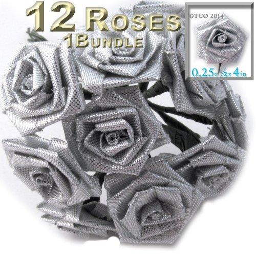 One Bundle 12 Handmade Folded ribbon Ros - Metallic Folded Shopping Results