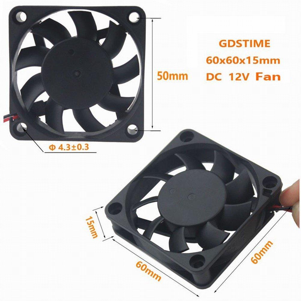 GDSTIME 60mm x 60mm x 10mm 12v Brushless Cooling Fan