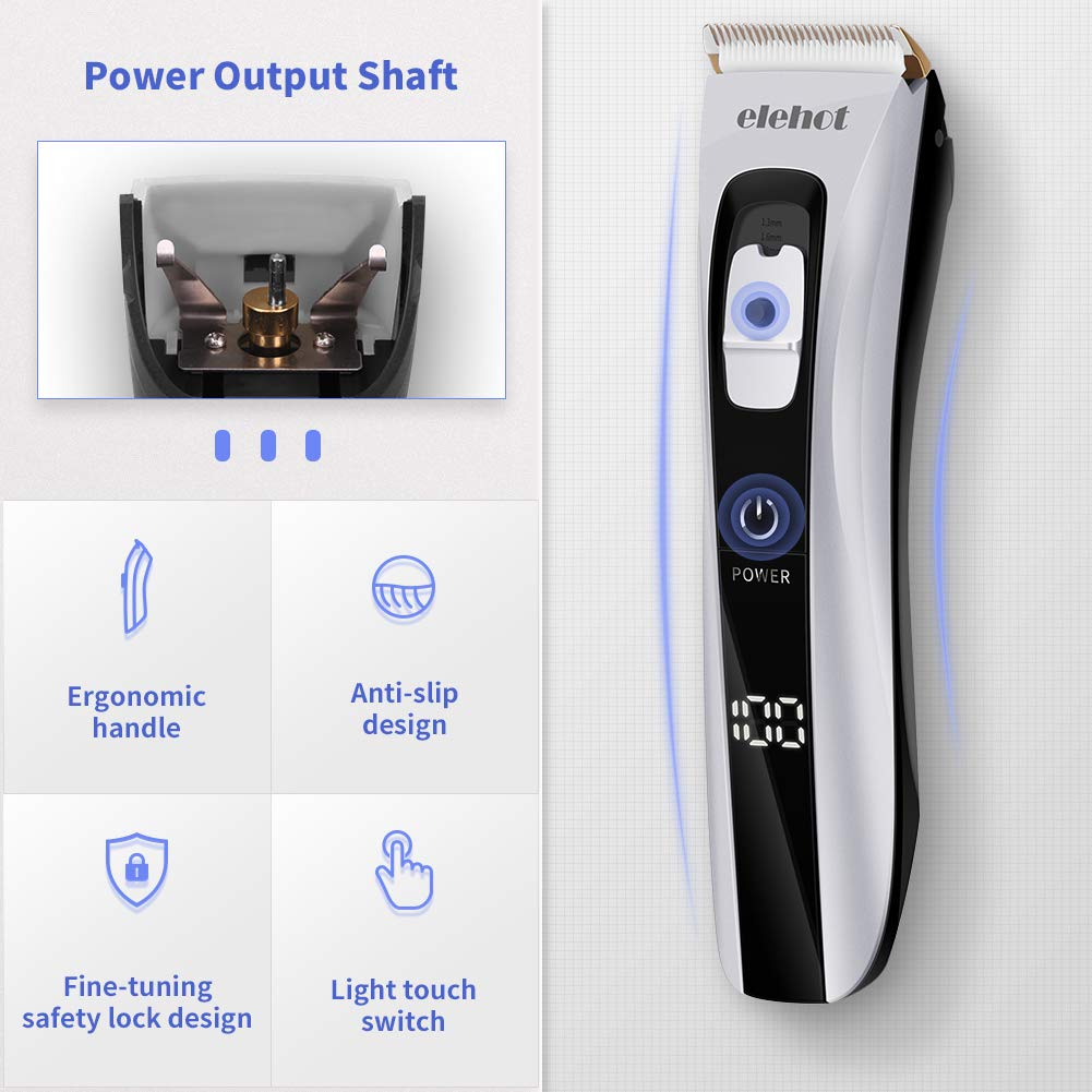 ELEHOT Hair Clippers for Men Professional Hair Trimmer LCD Digital Display Touch Travel Switch Cordless Beard Trimmer Ceramic Blade with Comb