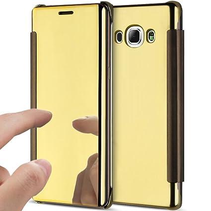 YSIMEE Funda Samsung Galaxy J5 2016,Carcasa Clear View Cover Funda de Espejo Flip Folio Caso Cierre Magnético Teléfono Móvil Estuches para Samsung ...